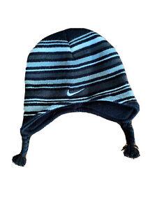 Nike Toddler Boys Beanie Winter Hat Black/Gray Striped