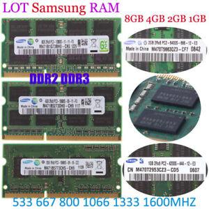 Für Samsung 8GB 4GB 2GB DDR2 DDR3 10600 12800 Laptop Arbeitsspeicher So-dimm LOS