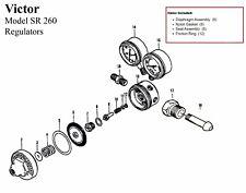 Victor Sr260a Acetylene Regulator Rebuildrepair Parts Kit With Diaphagm 0790 0051