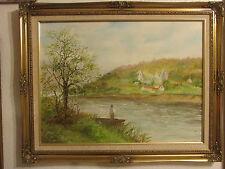 """Gran Vintage Original Pintura Al Óleo Sobre Lienzo » la ruina """"Firmada Por S. Cook"""