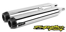 Two Brothers 005-4550499D-B Chrome Carbon Dual Slip On Straight Cut Harley M8
