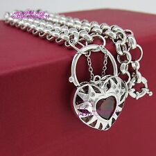 18k White Gold GF Necklace Chain Ring Clasp Heart Padlock Simulated Ruby Diamond