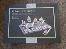 Kitchen Craft 17 Piece Appetiser / Dessert Serving Set Includes Slate Tray.