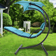 Hanging Chaise Lounger Chair Arc Stand Air Porch Swing Hammock Chair Canopy US
