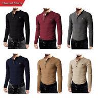Mens Thermal Slim Fit Fashion Casual Henley Cotton Long Sleeve Shirts & Pocket