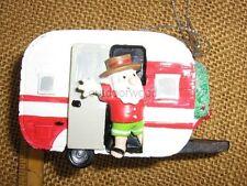 Red & White Retro Look Rv Camper Santa & Wreath Ornament by Mw Cannon Falls