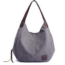 Women's Multi-pocket Cotton Canvas Hobo Handbags Shoulder Bags Totes Purses