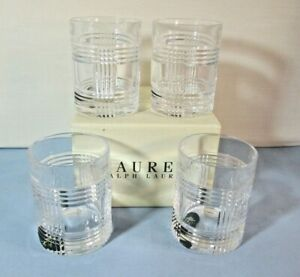 RALPH LAUREN 4 Glen Plaid Crystal TUMBLERS Old Fashioned Whiskey Glasses nib