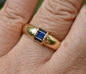 Tiffany & Co 18K Gold Baguette Cut Sapphire Ring Stackable Size 8