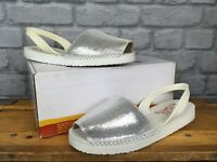 ESPADILLA LADIES UK 6 EU 39 SILVER LEATHER BALEARIC SANDALS SUMMER HOLIDAY