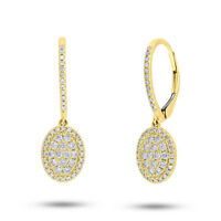 Diamond Oval Earrings 14K Yellow Gold Dangle Drop Leverback Dangling Pave Round