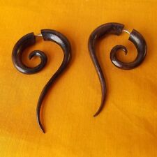 Pair Spiral Tribal Fake Gauge Earring Organic Carved Wood Split Expander Jewelry