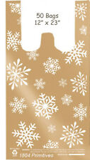 50 Medium T-Shirt Snowflake Plastic Bags ~ Christmas / Winter