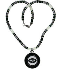 New York Jets Officially Licensed NFL Shell & Bead Necklace/Logo Pendant