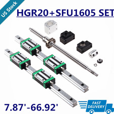 Linear Guide Rail Hgr20 2Pcs L200mm~1700mm+ 1Pcs Sfu1605 Ballscrew Set Cnc Us