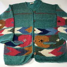 Hand Knit Cardigan Sweater Artsy Intarsia O/S S M L Vintage Rainbow Crafts