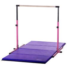Kids Pink Adjustable Horizontal Bar 4ftX8ft Purple Folding Gymnastics Mat Combo