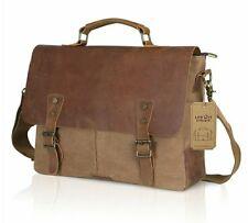 "Genuine Leather Vintage 15.6"" Laptop Bag Canvas Messenger Satchel Briefcase"