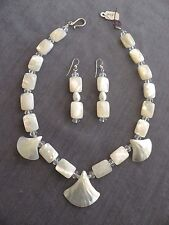 HANDMADE Mother-of-Pearl necklace, with earrings & Sterling Silver findings