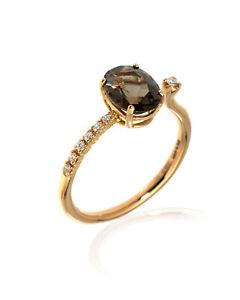 Salvini Taormina 18k Rose Gold Diamond & Quartz Ring Sz 8.75 20070513 MSRP $1610