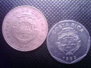 COSTA RICA 5 COLONES 1989 50 COLONES 1999 SEP17F