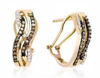 10K Yellow Gold Chocolate Brown & White Diamond Earrings Omega Back Hoops .50ct