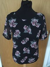 H&M BLACK & PINK FLORAL SHEER TOP/BLOUSE SIZE 8 US4 CUT OUT BACK