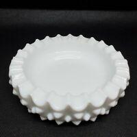 """Vintage Fenton Ashtray White Hobnail Milk Glass 4.75"""" Round Trinket Dish Heavy"""
