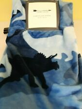 New Camo Kids Throw/Blanket Luxe Plush 50 x 60 Blue Camouflage Dinosaurs