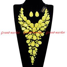 Fashion Black Chain Acrylic Resin Crystal Choker Statement Pendant Bib Necklace