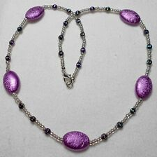 "21"" necklace, purple, silver multi bead mix"