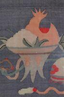 Antique Chinese Kesi Kossu Panel Fruit Cup MOP-Embellished Frame Stain