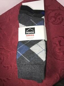 Alpine Swiss Men's Cotton/Polyester  3 Pack Dress Socks Argyle  Style:WS-3056