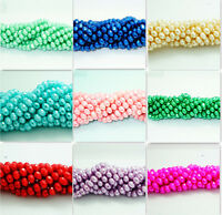 40pcs Faceted Rondelle  Pearl Crystal Glass Loose Spacer Beads 8x6mm wholesale