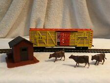 Farm Country Lot K C Durango Cattle Train Car&Cows/Shed + Track Ho Train Display