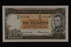 Australia 1954 10 Shillings Banknote Coombs Wilson R16 AC/29