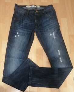 Mens Twisted Soul Blue Slim Ripped Jeans 32 Long