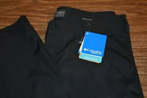 NWT COLUMBIA GOLF OMNI-WICK 36x34 Men's Flat Front Poly Spandex Pants Black
