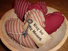 Primitive Red Homespun TIcking Raggedy Hearts Valentine Bowl Filler Ornies