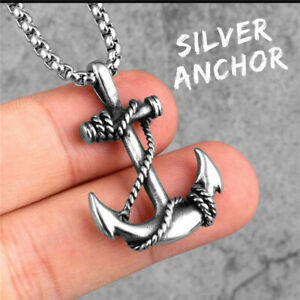 """Mens Vintage Nautical Pirate Anchor Pendant Necklace Stainless Steel Chain 22"""""""