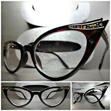 CLASSIC VINTAGE CAT EYE Style Clear Lens EYE GLASSES Dark Tortoise Fashion Frame
