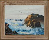 JOHN COLLIER Original SIGNED High Tide Coastline OIL ON CANVAS Vintage Framed