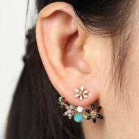 Fashion Women Jewelry Elegant Crystal Rhinestone Ear Stud Flower Earrings