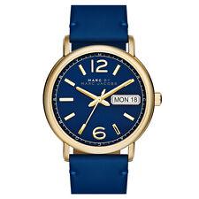 Brand New Marc Jacobs Women 38mm Gold Tone FERGUS Day Date Strap Watch MBM8650