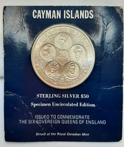 1975 CAYMAN ISLANDS-5 SOVEREIGN QUEENS of ENGLAND, $50 STERLING SILVER COIN+BOOK