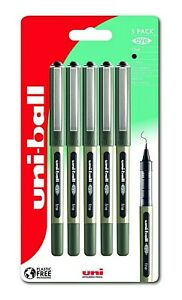 Uni-Ball Eye Fine Black Rollerball Pens Liquid Ink 5 Pack UB157 0.7mm Nib