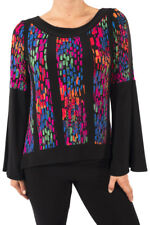 Joseph Ribkoff Black/Blue/Pink Colorblock Long Sleeve Top Sz 8 (UK10) New 173551