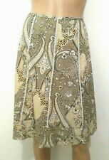 ANN TAYLOR Women's Skirt Sz 2 Taupe Lacy Knee Length Zipper on Left Side Cotton