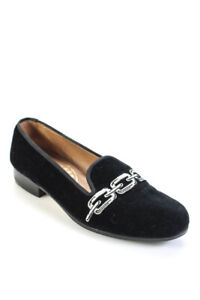 Stubbs & Wootton Womens Velvet Chain Print Slip On Loafers Black Size 7