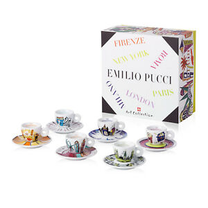 ILLY ART COLLECTION Coffee Set by Emilio Pucci - 6 Cappuccino + 6 Saucers